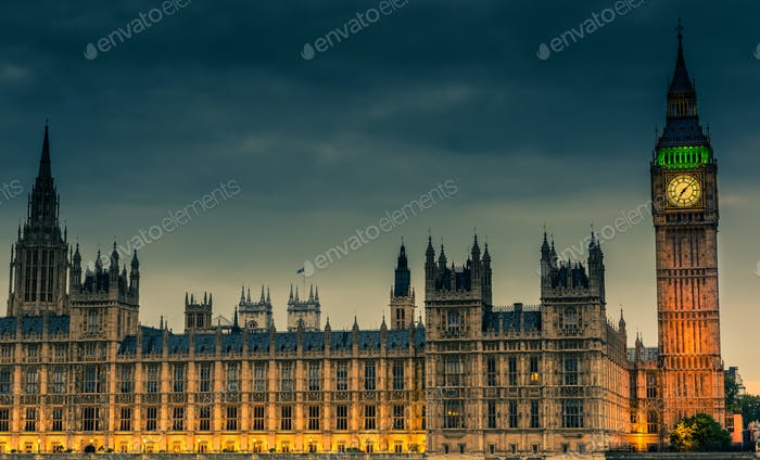 Westminster abbey and big ben at night, London, United Kingdom
