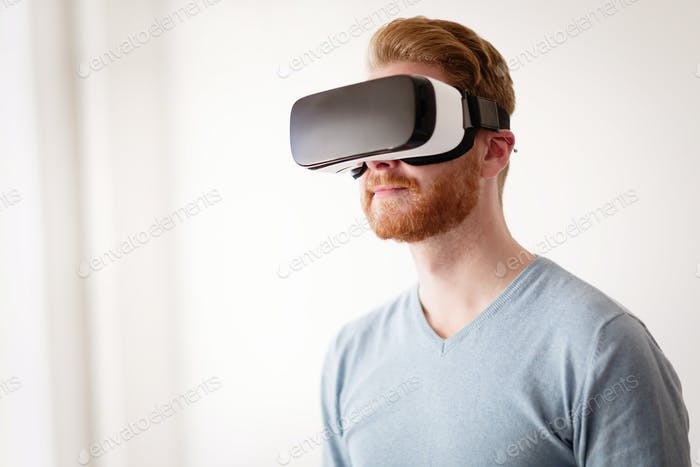 Man wearing future technology VR glasses
