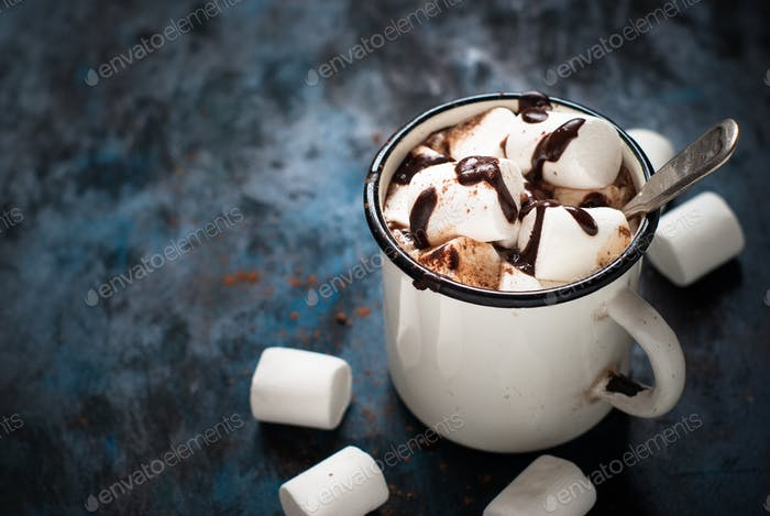 Chocolate with marshmallow in the mug