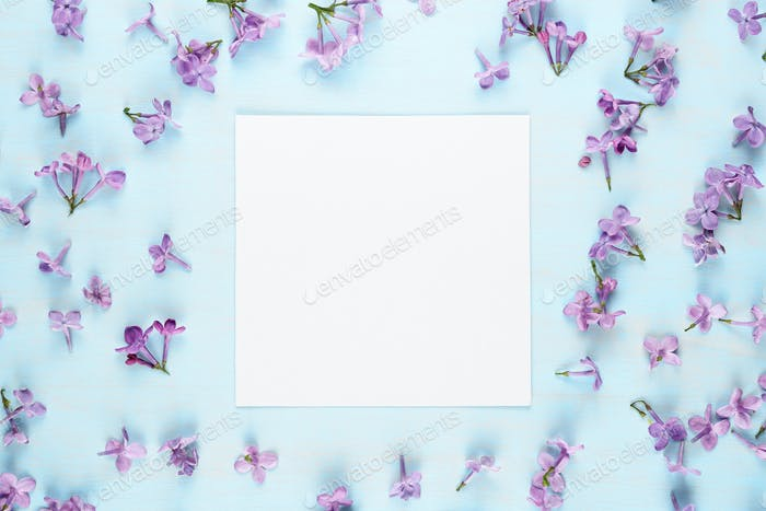 Blank greeting card and lilac flowers on blue background