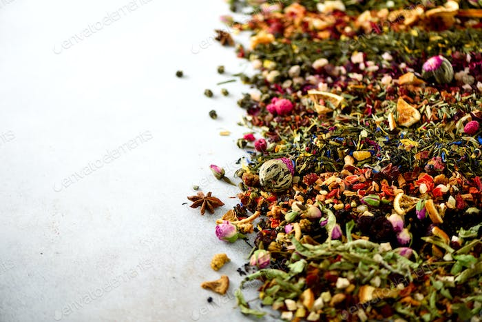 Different types of tea: green, black, floral, herbal, mint, melissa, rose, hibiscus, cornflower. Dry