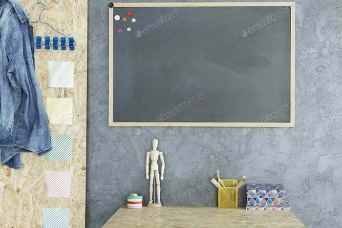 Gray interior with OSB board