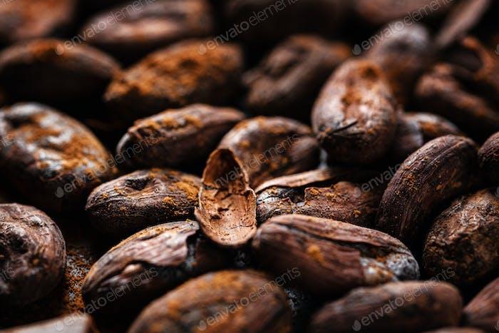 Kakaobohnen auf Platte Nahaufnahme
