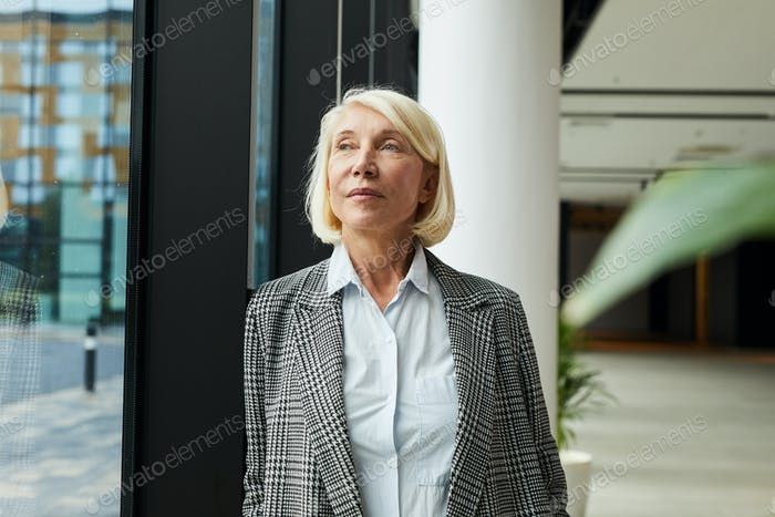 Pensive mature businesswoman at office