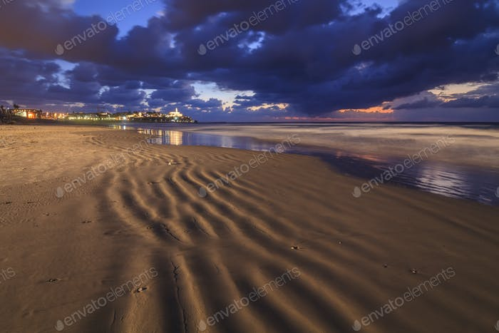The sea along the sandy shores of Tel Aviv