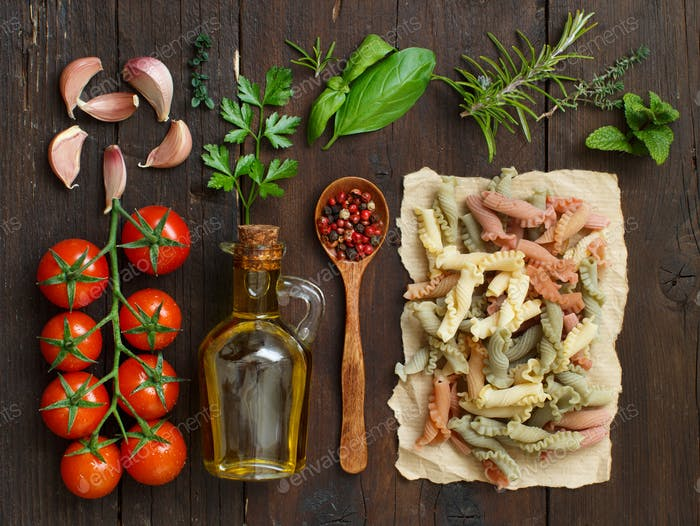 Thumbnail for Tricolor pasta, vegetables, herbs and olive oil