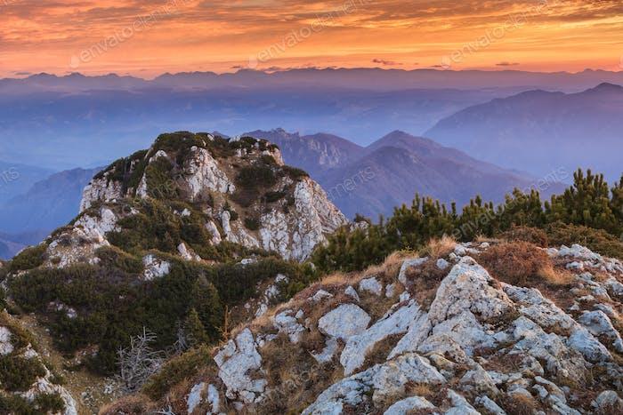 mountain landscape in Buila Vanturarita Mountains, Romania