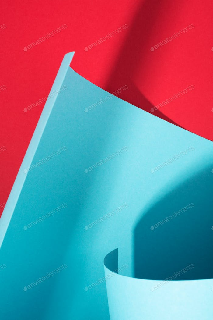 Curve Paper, Abstract Geometric Red and Blue Background.
