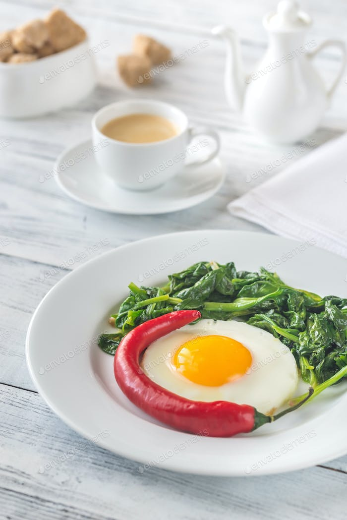 Fried egg with spinach