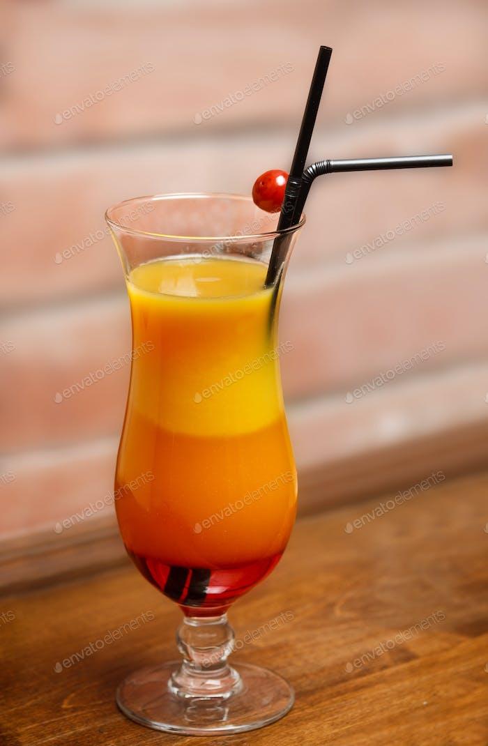 Nice three-layered cocktail