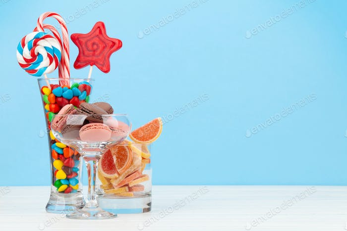 Various sweets assortment. Candy, bonbon, lollipop