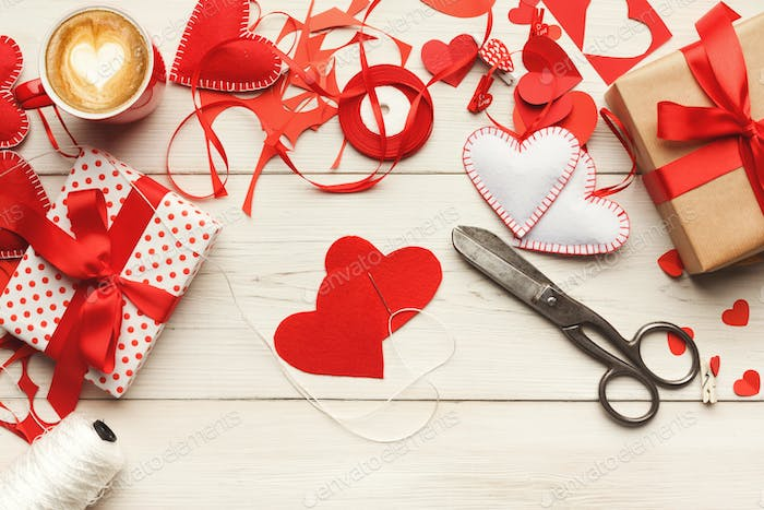 Valentine day handmade scrapbooking background, cut and paste he
