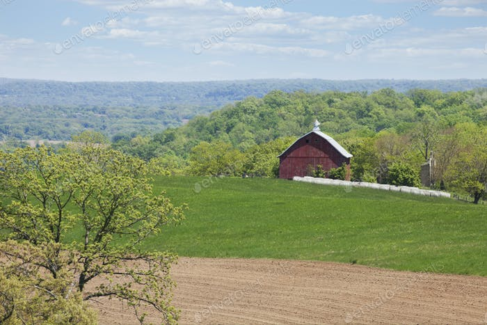 Red Barn on Hillside in Midwest USA