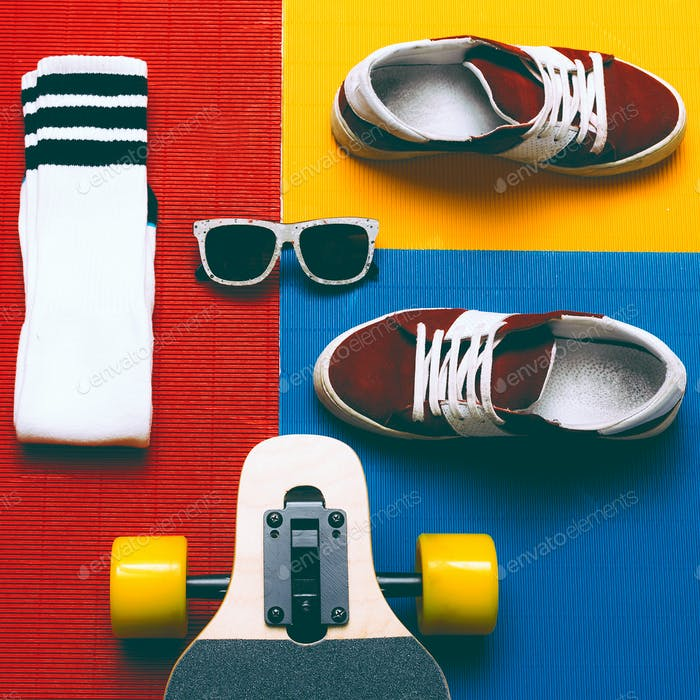 Set skateboarder. Sneakers, socks, skateboard. Eyeglasses. Urban