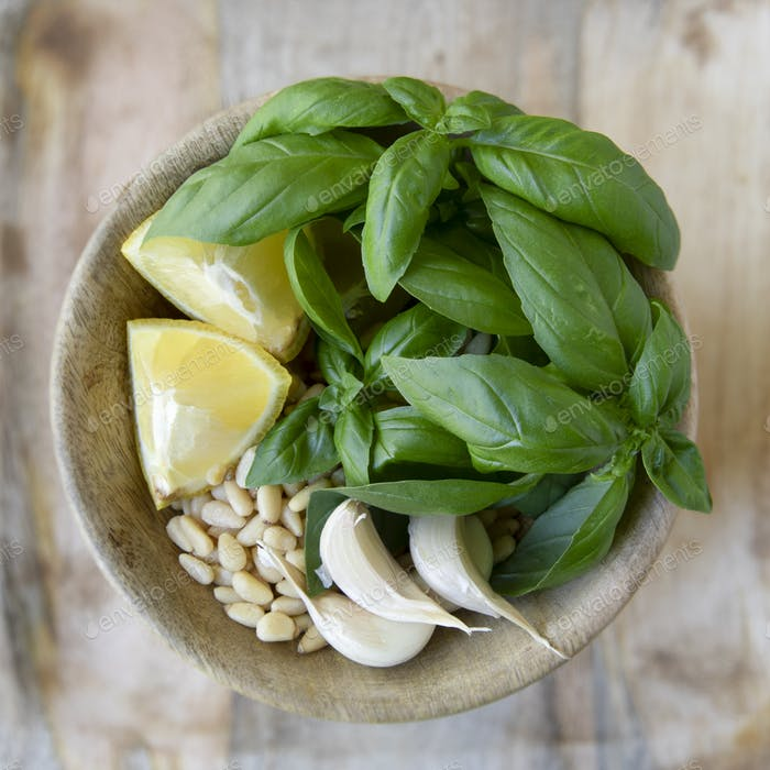 Bowl of Pesto Ingredients