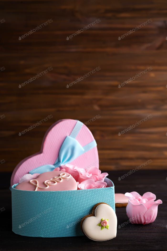 Hearts Cookies In Box Festive Round Blue Box With Cookies