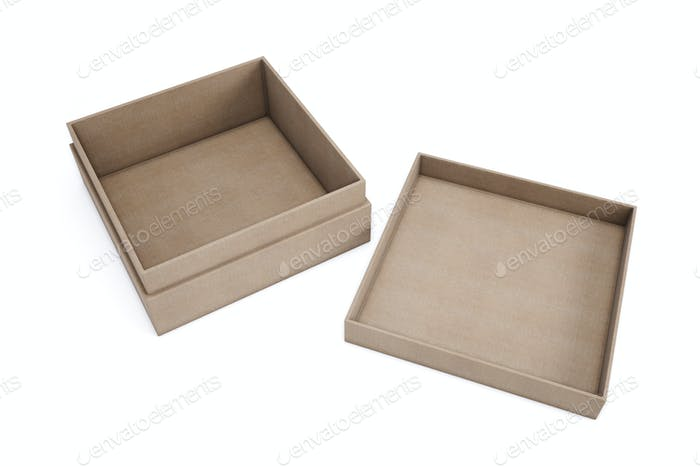 Mockup cardboard boxes for your design. Isolated on a white back