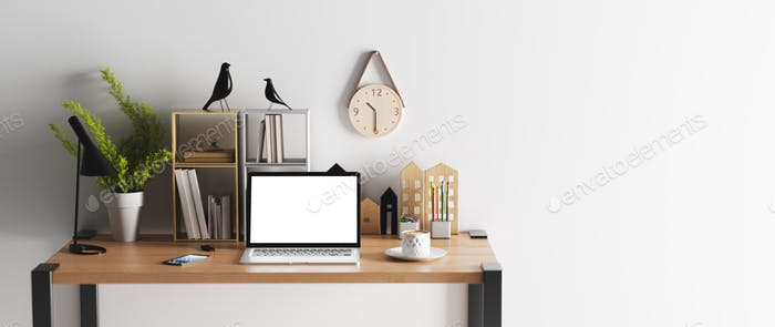 Home office interior. Modern minimalist workplace