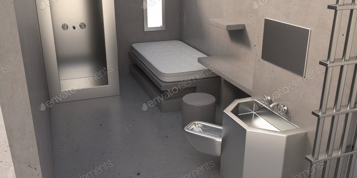 Тюрьма клетки supermax безопасности интерьер комнаты. 3D иллюстрация