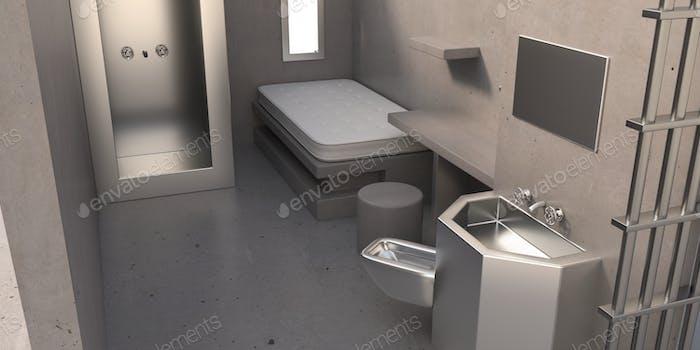 Gefängniszellen-Supermax-Innenraum. 3D Illustration