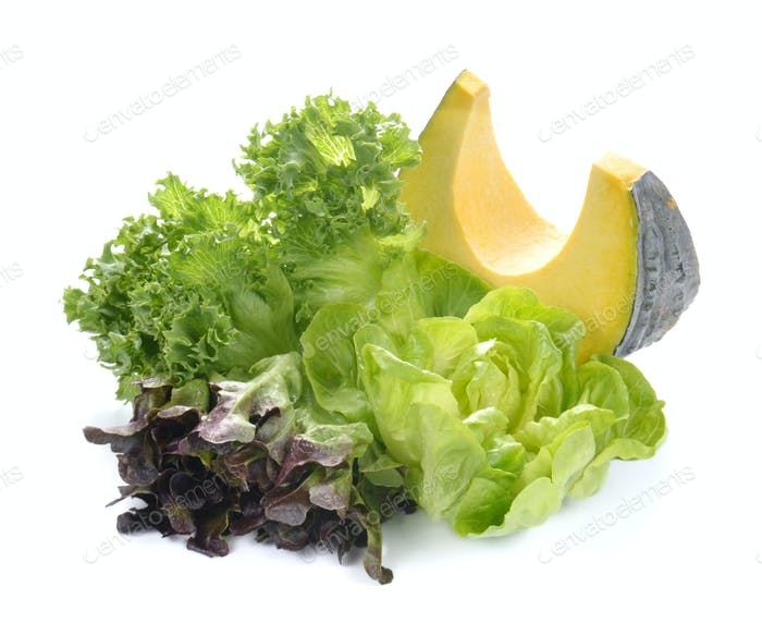Fresh lettuce salad,Fresh vegetable salad,Pumpkin on white backg