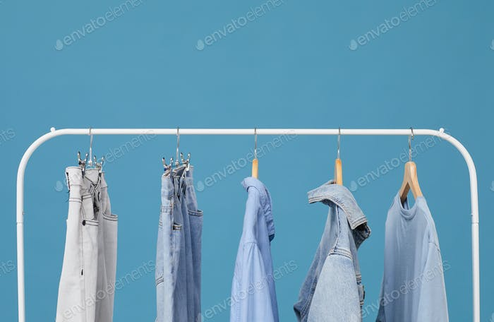 Jeans clothes on the rack