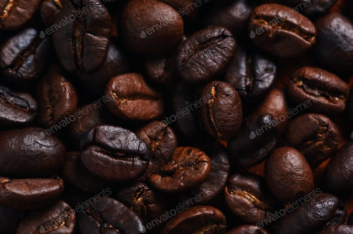 Close-up view of roasted coffee beans