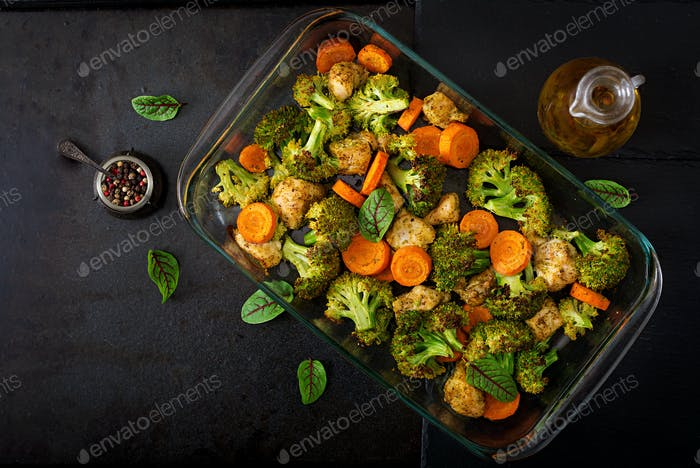 Stew of baked vegetables and chicken fillet. Healthy food. Proper nutrition. Flat lay. Top view