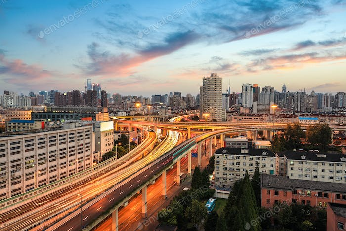 shanghai elevated road at dusk