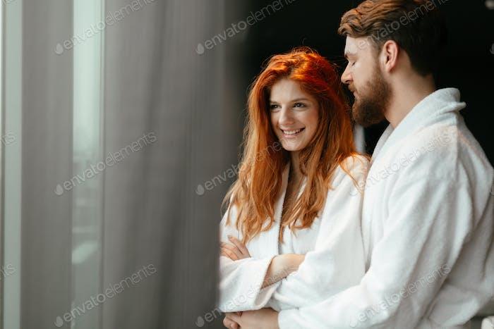 Beautiful couple enhoying wellness weekend