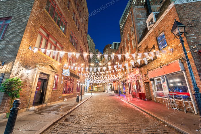 Stone Street in New York City, USA.