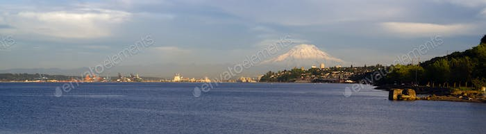Commencement Bay Panoramic Puget Sound Tacoma Washington Mout Rainier