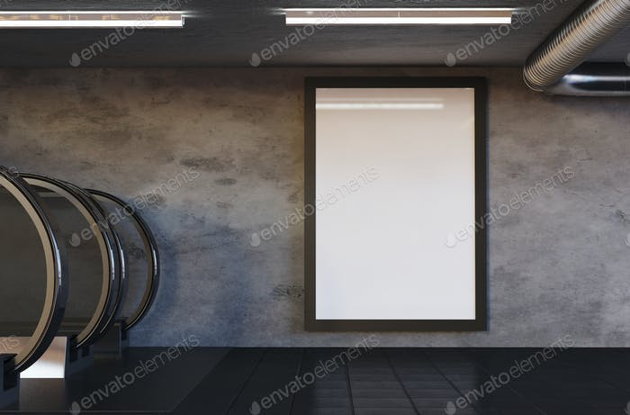 3D Illustration. Mockup of blank billboard poster on subway.