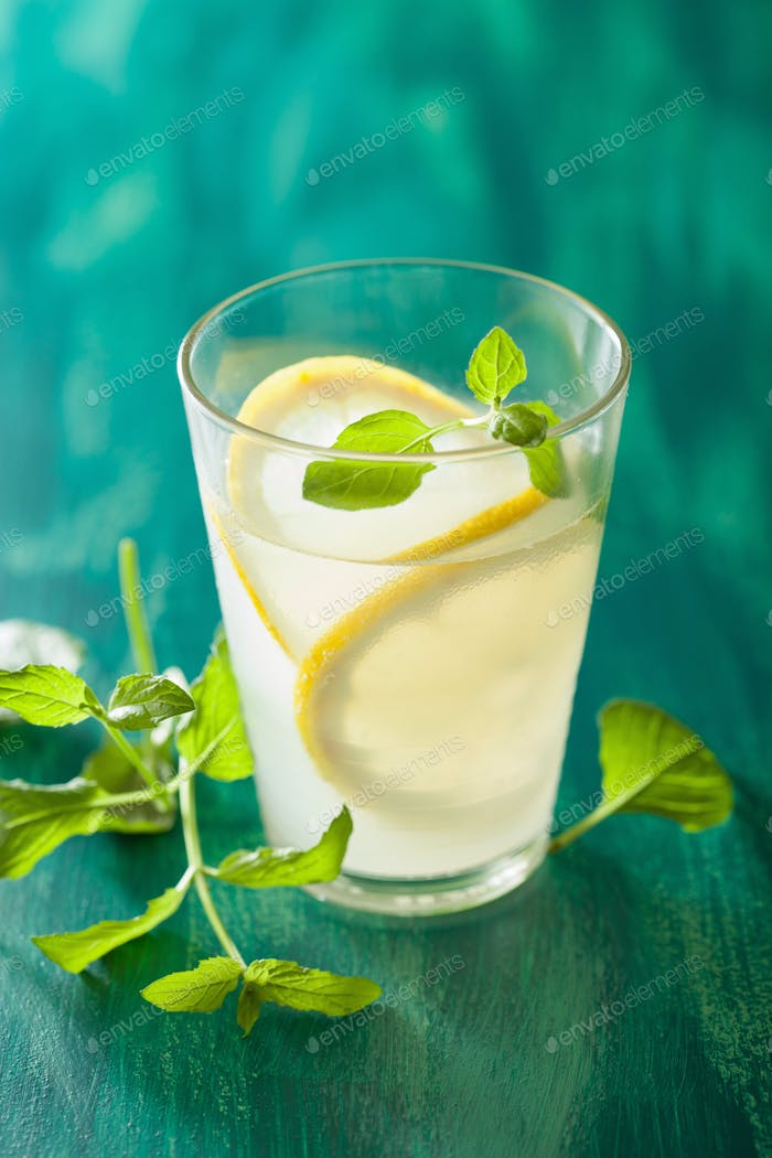 fresh lemonade with mint in glass