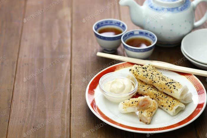 sesame wafer prawn rolls, chinese dim sum