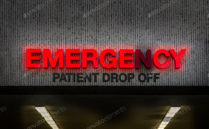 Rundown Hospital ER Drop Off Sign