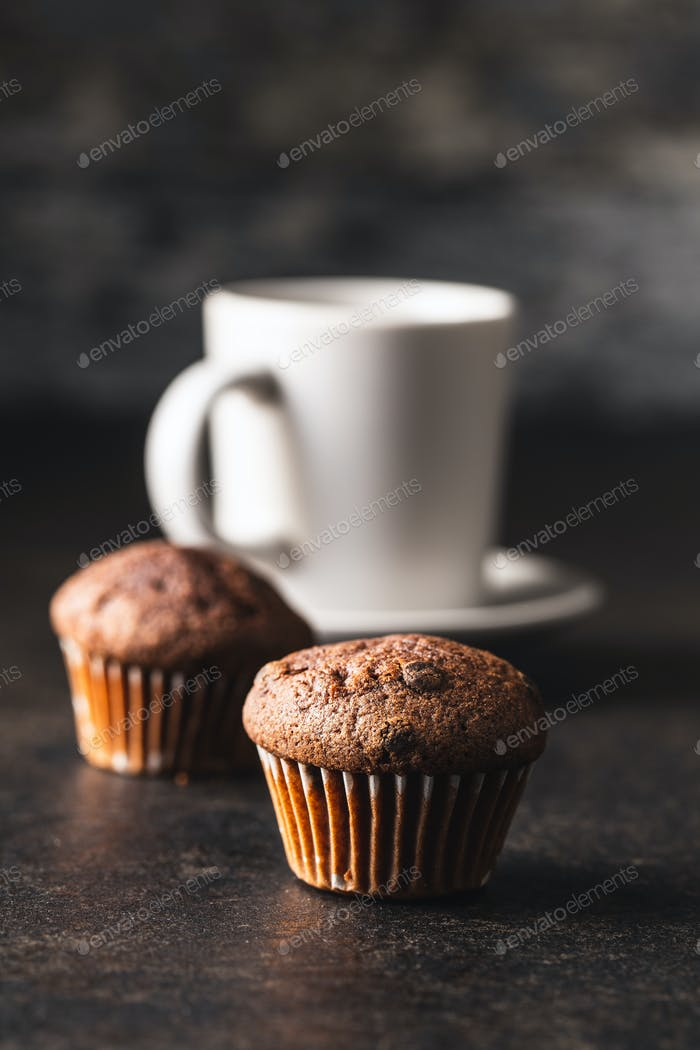 Tasty chocolate muffins. Sweet cupcakes.