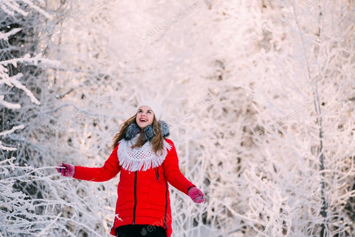 Young Beautiful Pretty Caucasian Girl Woman Dressed In Red Jacke