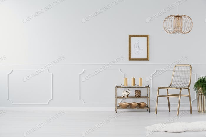 Gold chair and plant in white living room interior with copy spa