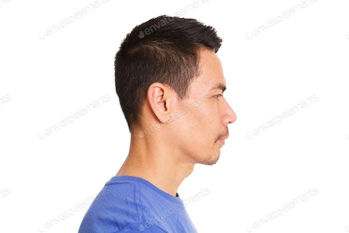Profile of older asian man