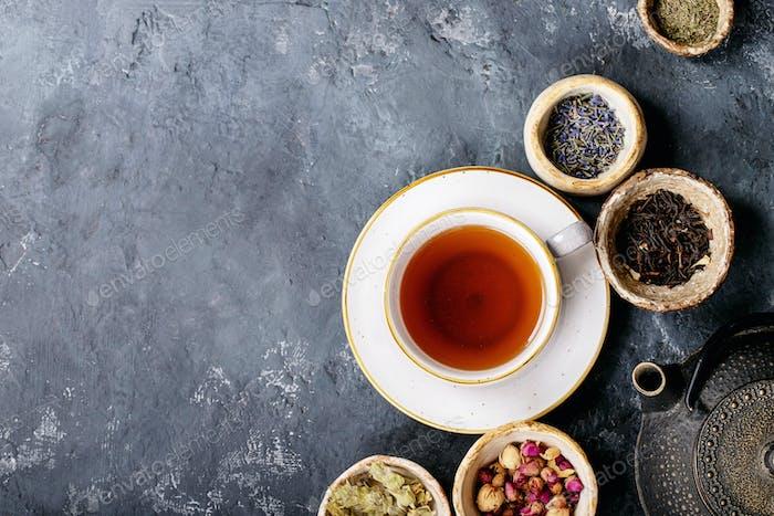 Black tea in a ceramic cup
