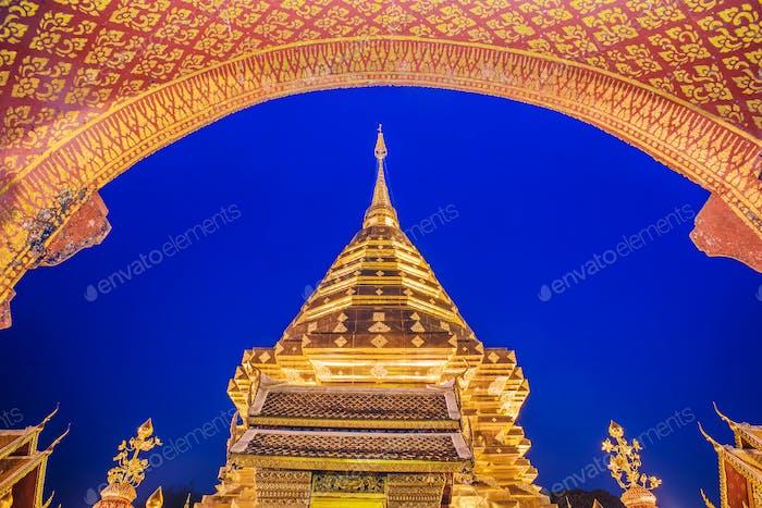 Pagoda at Doi Suthep temple.