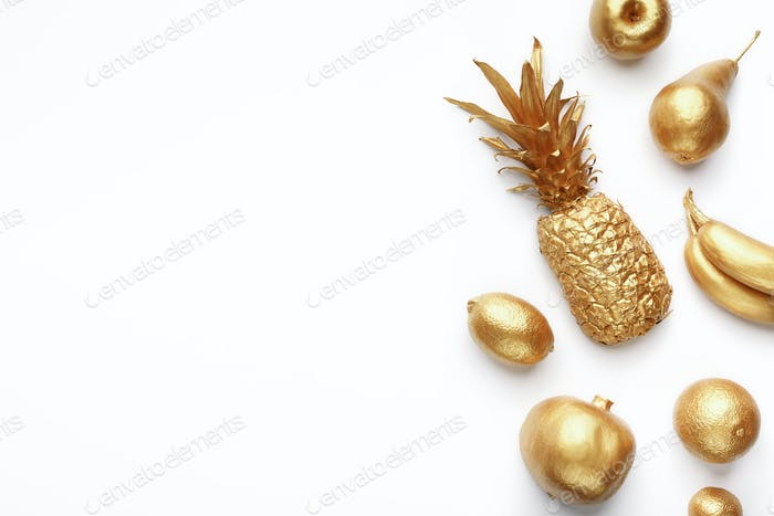 Golden fruits composition