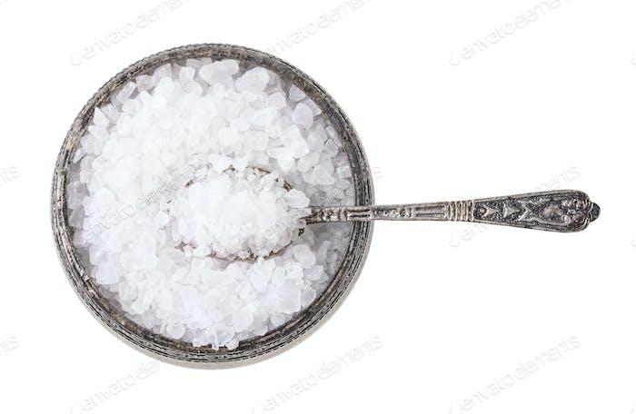 silver salt cellar with spoon with coarse Sea Salt