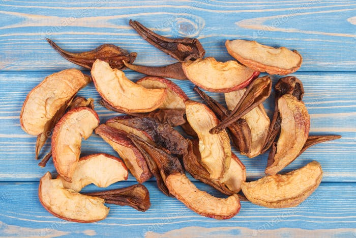 Dried apple and pear for preparing compote of dried fruits, healthy nutrition concept