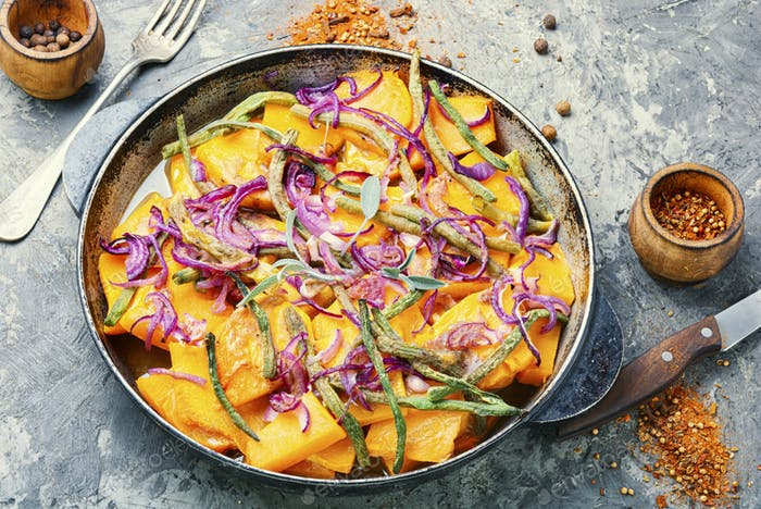 Roasted pumpkin with with vegetables