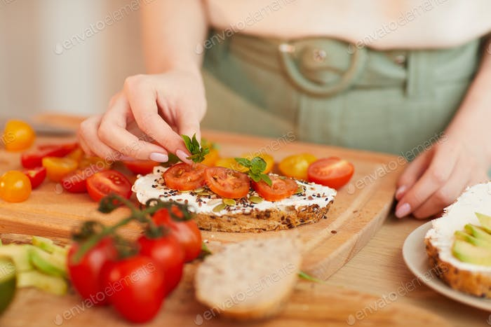 Woman Cooking Healthy Breakfast Close up
