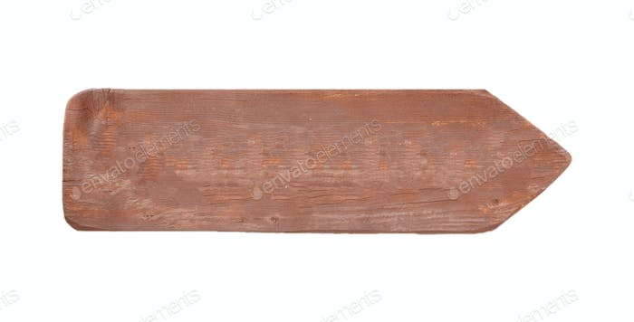 Wooden arrow isolated on white background, copy space