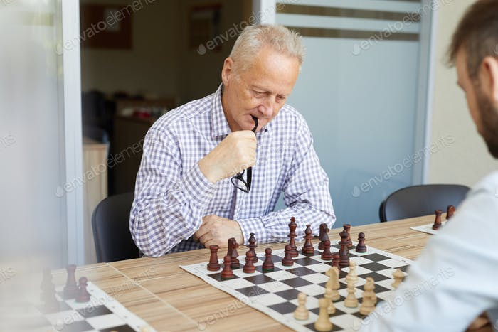 Playing chess with son