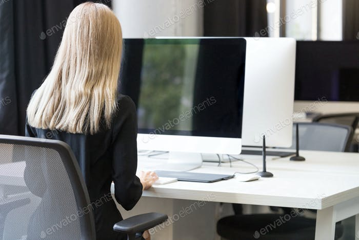 Back view portrait of a casual businesswoman working on computer